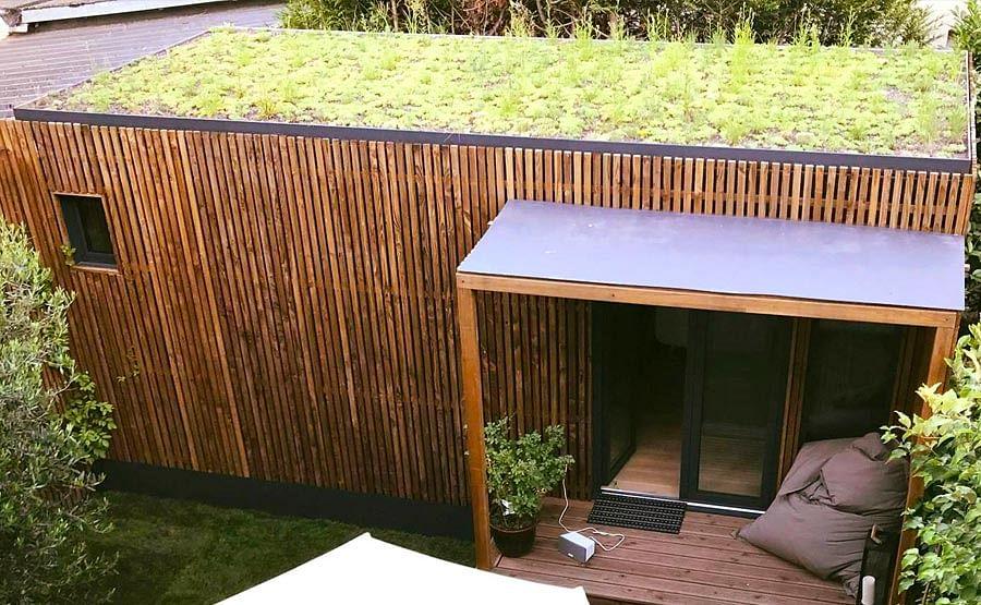 Option toiture végétalisé pour studio de jardin Greenkub